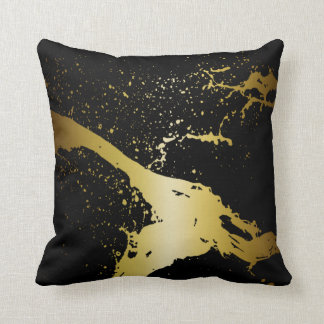 Grunge Splash Paint Splatter | black gold Cushion