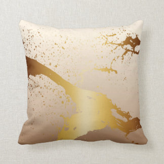 Grunge Splash Paint Splatter | gold taupe ivory Throw Pillow