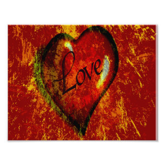 Grunge Splatter  Love Heart Photo