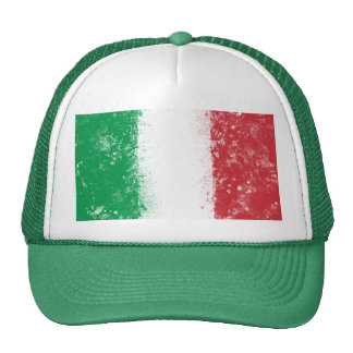 Grunge Splatter Painted Flag of Italy Mesh Hats