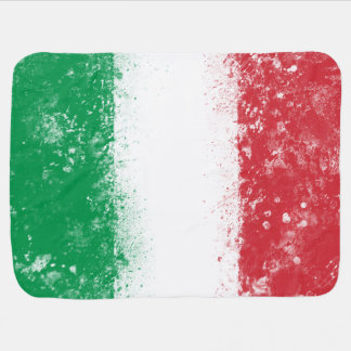 Grunge Splatter Painted Flag of Italy Receiving Blankets
