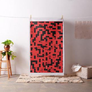Grunge squares, black bricks on red fabric pattern
