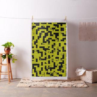 Grunge squares, black bricks yellow fabric pattern