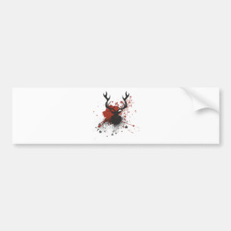 Grunge Stag with Floral Bumper Sticker