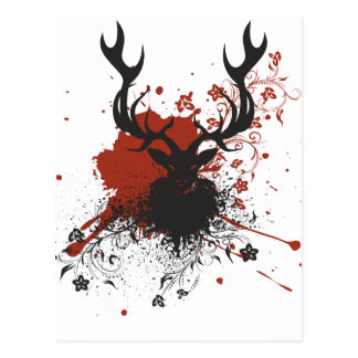 Grunge Stag with Floral Postcard