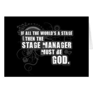 Grunge Stage Manager God Greeting Cards