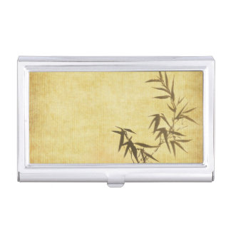 Grunge Stained Bamboo Paper Background Business Card Holders
