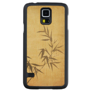 Grunge Stained Bamboo Paper Background Carved Maple Galaxy S5 Case