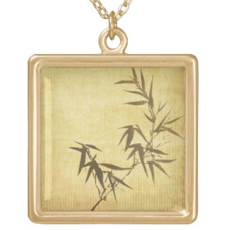Grunge Stained Bamboo Paper Background Gold Plated Necklace