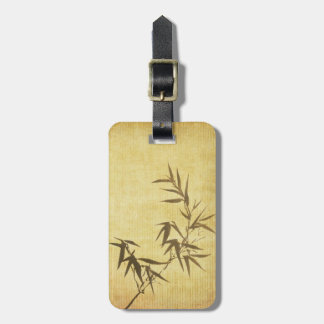 Grunge Stained Bamboo Paper Background Luggage Tag