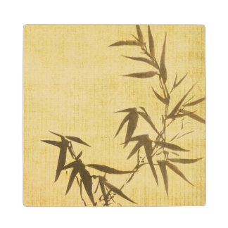Grunge Stained Bamboo Paper Background Wood Coaster