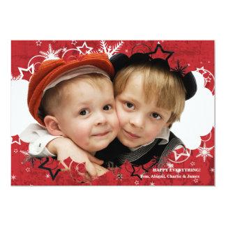 Grunge Star Holiday Photo Card 13 Cm X 18 Cm Invitation Card