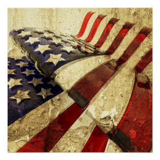 Grunge stars and stripes canvas poster