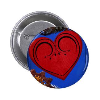 Grunge Steampunk Clocks and Gears Heart 6 Cm Round Badge