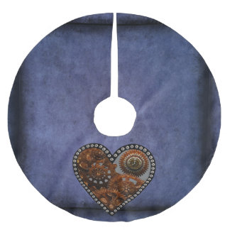 Grunge Steampunk Clocks and Gears Heart Brushed Polyester Tree Skirt