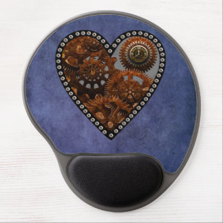Grunge Steampunk Clocks and Gears Heart Gel Mouse Pad