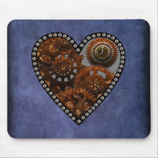 Grunge Steampunk Clocks and Gears Heart Mouse Pad