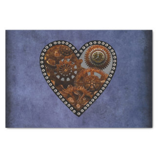 Grunge Steampunk Clocks and Gears Heart Tissue Paper