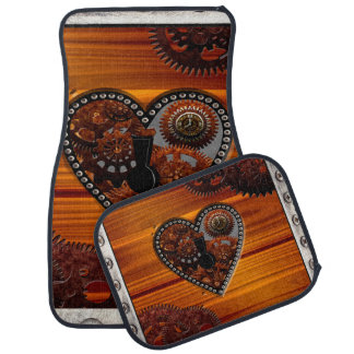 Grunge Steampunk Clocks and Gears Key Heart Box Floor Mat
