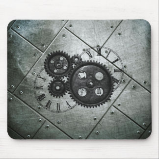 Grunge Steampunk Clocks and Gears Mouse Pad