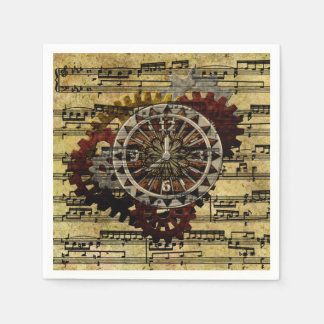 Grunge Steampunk Clocks and Gears Paper Napkins