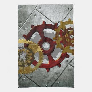 Grunge Steampunk Clocks and Gears Tea Towel