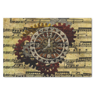 Grunge Steampunk Clocks and Gears Tissue Paper