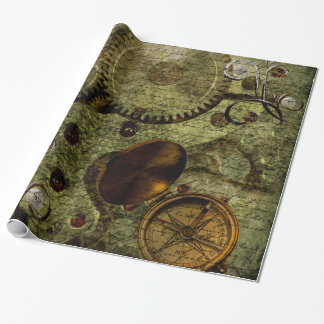 Grunge Steampunk Clocks and Gears Wrapping Paper