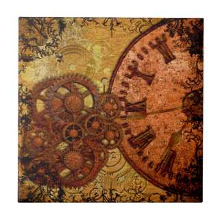 Grunge Steampunk Gear and Clock Tile