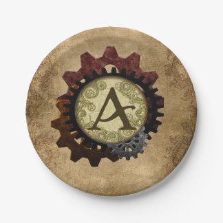 Grunge Steampunk Gears Monogram Letter A Paper Plate