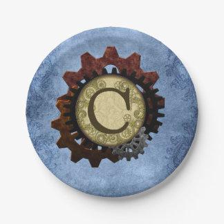 Grunge Steampunk Gears Monogram Letter C Paper Plate