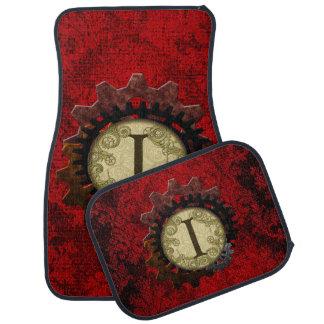 Grunge Steampunk Gears Monogram Letter Floor Mat