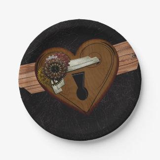 Grunge Steampunk Heart 7 Inch Paper Plate