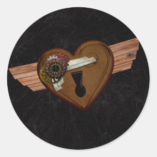 Grunge Steampunk Heart Classic Round Sticker