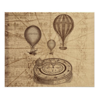 grunge steampunk hot air balloons on old map poster