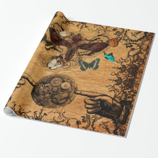 Grunge Steampunk Victorian Butterfly Wrapping Paper