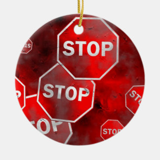 Grunge Stop Sign Christmas Ornament