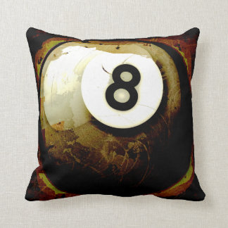 Grunge Style 8 Ball Throw Pillow