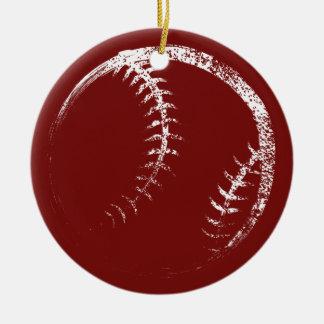 Grunge Style Baseball or Softball Design Christmas Ornament