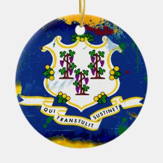 Grunge Style Connecticut Flag Christmas Ornament