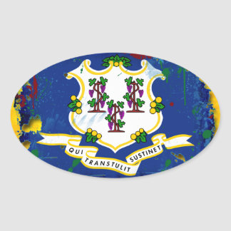 Grunge Style Connecticut Flag Stickers