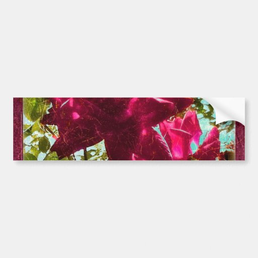 Grunge Style Floral Composition Bumper Stickers