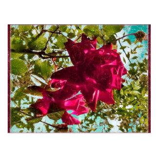 Grunge Style Floral Composition Postcard
