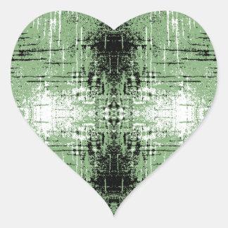 Grunge Style Green Abstract. Heart Sticker