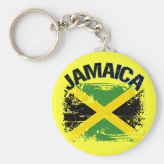 Grunge Style Jamaica Flag Design Key Ring