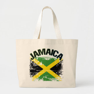 Grunge Style Jamaica Flag Design Large Tote Bag