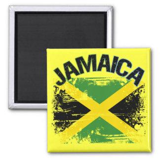 Grunge Style Jamaica Flag Design Square Magnet