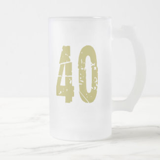 GRUNGE STYLE NUMBER 40 FROSTED GLASS MUG