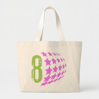 GRUNGE STYLE NUMBER 8 AND PINK STARS JUMBO TOTE BAG