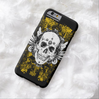 Grunge style skull with floral background, barely there iPhone 6 case